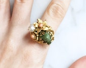 Vintage 50s 60s Jade Coral Pearl Ring Tall Floral Vintage Jewelry