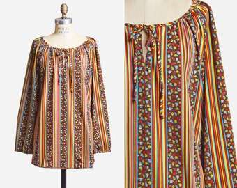 Vintage 70s Mod Striped FLORAL Tunic TOP / 1970s Boho Hippie Blouse Top Bohemian Long Sleeve s m