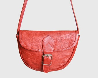 Vintage 90s Red Leather Purse / 1990s Small Crossbody BAG