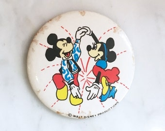 Vintage 60s 70s MOD Mickey and Minnie Mouse Pin Pinback Button Walt Disney Productions