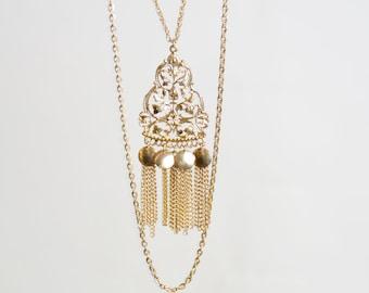 Vintage 60s 70s Gold Etruscan Tassel Pendant Long Necklace Bold Vintage Jewelry