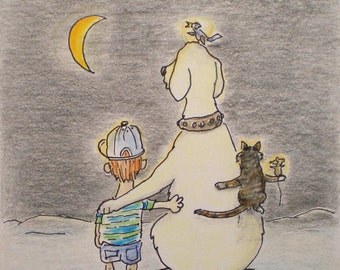 Boys Greeting Card Labrador Dog Cat Mouse Bird Friends Moon Drawing Picture