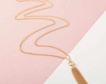 Long Gold Tassel Necklace | Long Gold Necklace | Gold Chain Tassel | Long Gold Pendant | Tassel Pendant | Simple Minimal Tassel Necklace