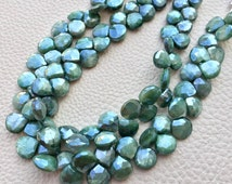 Brand New, 1/2 Strand,Brand New, Rare Natural Mystic Alexandrite Green Moonstone Faceted Heart Shape Briolettes, 9-8mm size
