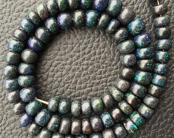 Brand New, Rare Natural MATRIX Black Opal Smooth Rondelles,7-8mm Size, 8 Inch Strand,Superb-Finest Quality,Rare Item at Low Price.