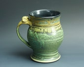 Pottery beer mug, ceramic beer stein, stoneware mug mottled green 24 oz 3255
