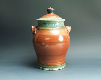 Handcrafted pottery canister cookie jar kitchen storage jar brick red  33347