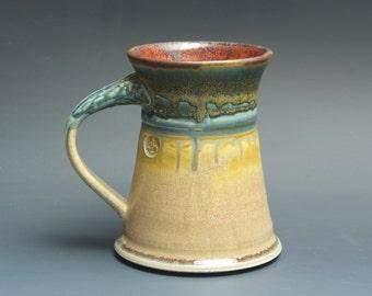 Handmade pottery coffee mug tea cup 12 oz, apricot cream tea cup 3466