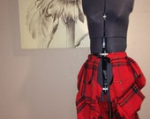 Red and Green Plaid Tie On Bustle Skirt -Upcycled-with ruffled hem