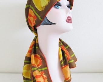 25% OFF SALE Vintage 1960's Orange Tulip Scarf / Long Length Floral Hair Neck Scarf