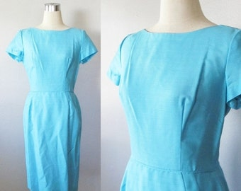 40% OFF SALE Vintage 1950's Aqua Blue Wiggle Dress / Formal Hourglass Figure Party Dress / Size Small