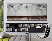 72x30 Original Abstract landscape Painting modern brown grey minimalist art -serenity -Elena Petrova