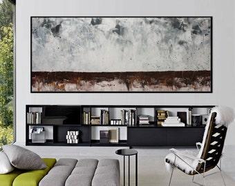 72x30 Original Abstract landscape Painting black floating frame modern brown grey minimalist art -serenity -Elena Petrova