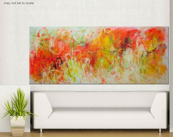 extra Large Abstract Painting - madly in love - Original landscape Painting red orange yellow painting 72x30 Elena Unstretched