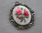 ART ROSES Embroidery, Stitched Art, Vintage Art, Pink Red Green small
