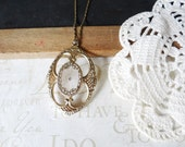 ORNATE sparkle filigree vintage pendant necklace | gold | lucite | scroll | edwardian | long | layer | gilded | victorian | old fashioned