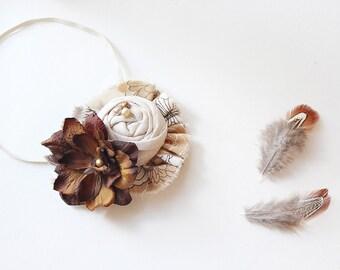 Shall We Gather- rosette and ruffle linen and silk flower headband