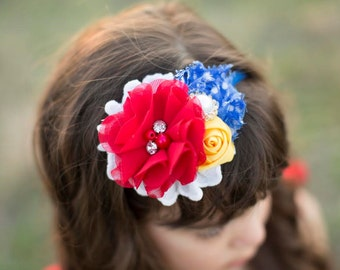 In the Land - snow white red blue and yellow headband