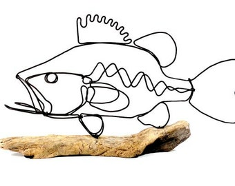 Bass Wire Sculpture, Fish Wire Art, Minimal Design Art, Wire Folk Art, 261474157