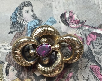 Victorian Brooch Love Knot with Garnet Paste Stone