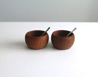 Kay Bojesen Grand Prix Salt Spoons with Teak Condiment Bowls