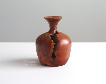 Vintage Wood Burl Vase Weed Pot with Glass Insert