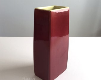 La Mirada Rectangular Burgundy Green California Art Pottery