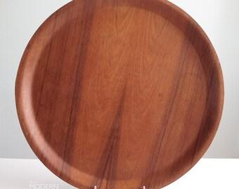 Backman Finland Large Round Teak Serving Tray Platter