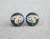 Artist Paint Palette Fabric Button Earrings