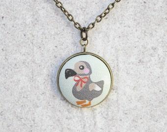 Dapper Dodos Fabric Button Pendant Necklace