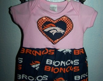 Broncos Baby Girl Pink Onesie Dress Outfit New Baby Coming Home New Arrival Baby Shower Gift Photo Shoot Game Day Sports