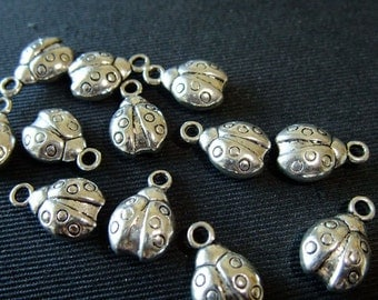 Destash (10) Lady Bug Charms - silverplate, double-sided, cute woodlands - for pendants, jewelry making, crafts, scrapbooking