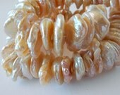 Large Keishi Pearls Center Drill Keshi Petal Pearls 22mm 6mm Natural Peach Pink Thick Half Strand 34 Pieces