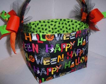 Black Orange Green Purple Happy Halloween Trick or Treat Fabric Basket / Bucket / Bag / Tote