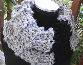 Hand knit super comfy cowl wrap scarf - Gray and Black