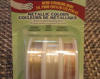 Beading Wire, Beadalon Wire, Metallic Beading Wire, Beadalon Stringing Wire - Beadalon, Wire, Silver, Rose Gold, Gold, 7 Strand Wire, 30 Ft