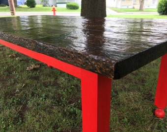 Beautiful Thrashing Floor Table with Stunning Red Legs.