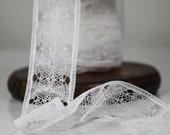 Vintage Lace Trim Insert - Spider Web Design - Both Edges Finished - White - Beautiful -Yardage