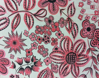 Vintage 1950's Fabric -  Pink and Black Floral on White Background  - Half Yard