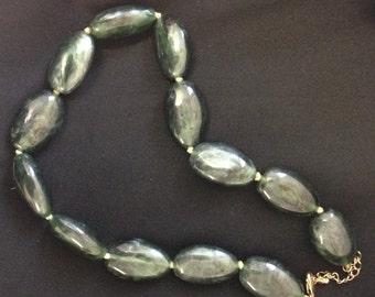 Vintage Mottled Bakelite look green beaded necklace, fakelite