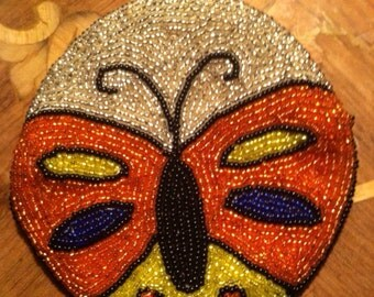 Vintage change purse butterfly beaded round clutch