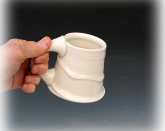 PORCELAIN COFFEE MUG #22 - White Coffee Mug - White Ceramic Mug - Porcelain Coffee Cup - White Cup - Studio Pottery