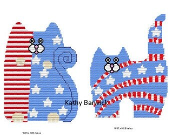 Plastic Canvas All American Cats Wall Hangings Instant Download