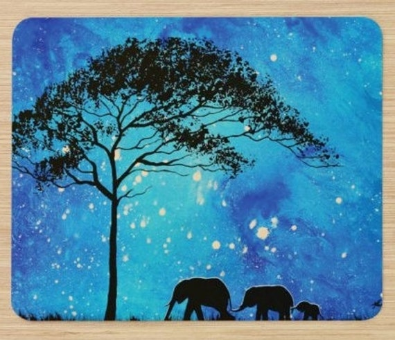 Mousepad Mouse Pad Fine Art Painting Evening Stroll Elephants Silhouette Acacia Tree Starry Night Blue Sky Elephant Family Walking Stars