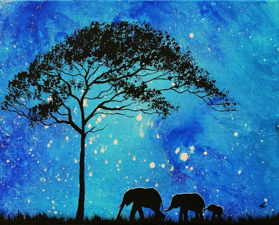 Fine Art Giclee Print of Original Painting Evening Stroll Amber Elizabeth Lamoreaux Surreal Elephants Walking Night Sky Acacia Tree Stars