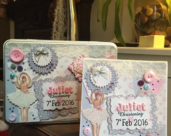 made to order Personalised Treasure Tin Box with matching greeting card perfect for Christmas, Christening, Wedding, New Born Baby gift