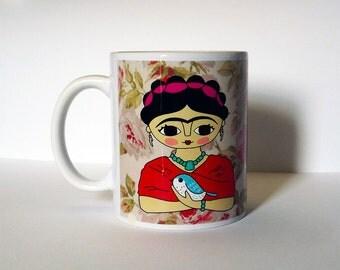Mug with original artwork of Frida Kahlo / Frida & bird