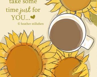 Coffee Art -  Coffee Art Print  Sunflowers and Coffee-  Digital Art Print -  Wall Art -- Print