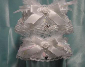 White Rose Iridescent Garter Set