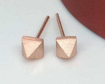 Men's earrings, sunset copper glow triangle stud earrings,  mens stud earrings, pyramid stud earrings, sterling silver posts,  E311MR